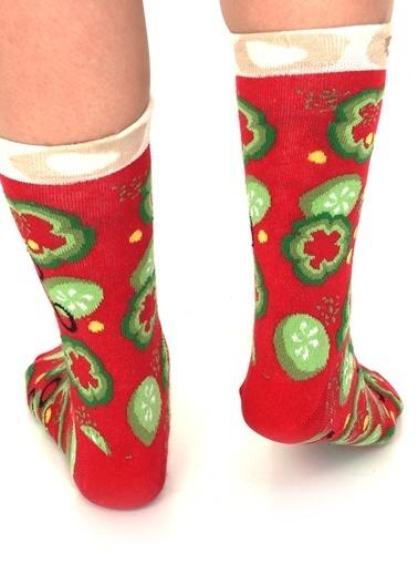 Socks+Stuff Veggie Pizza 4'lü Çorap Kırmızı